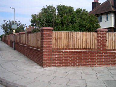 how to build a timber fence with brick pillars